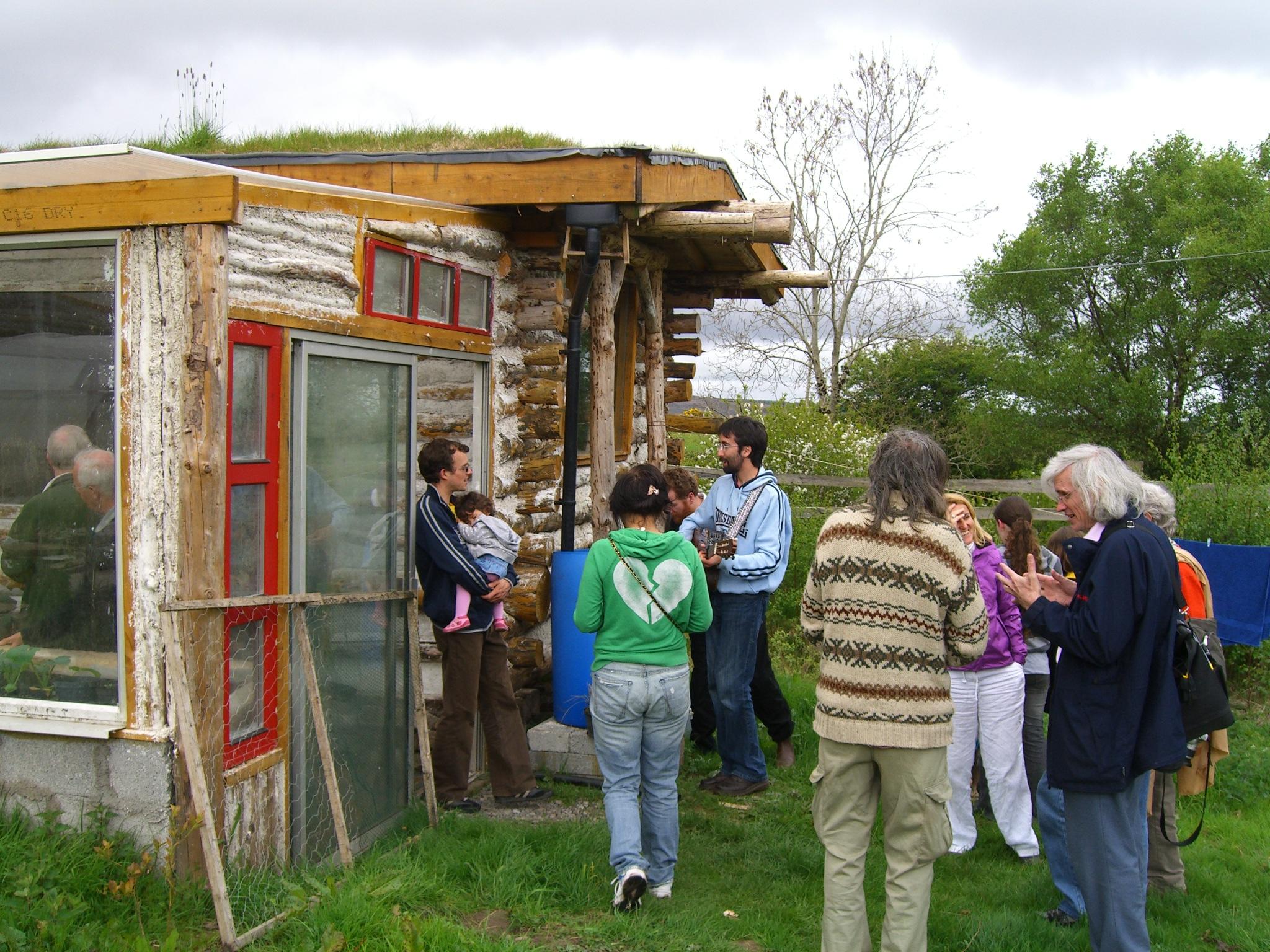 visitors at the log cabin
