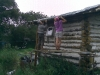 Didi and Emma working on the log cabin
